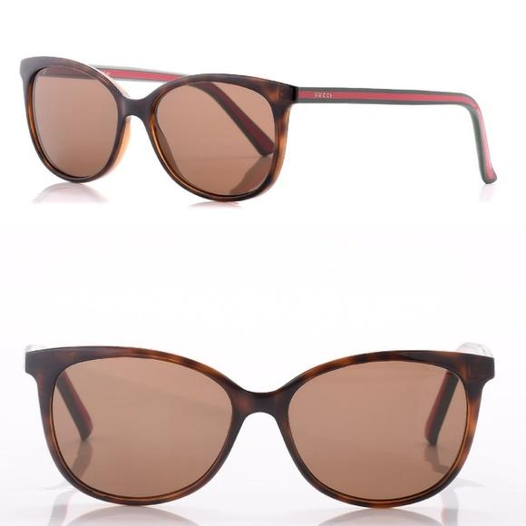 91d4d9ddd7ea Gucci Accessories | Nwt Havana Brown W Red Green Sunglasses | Poshmark